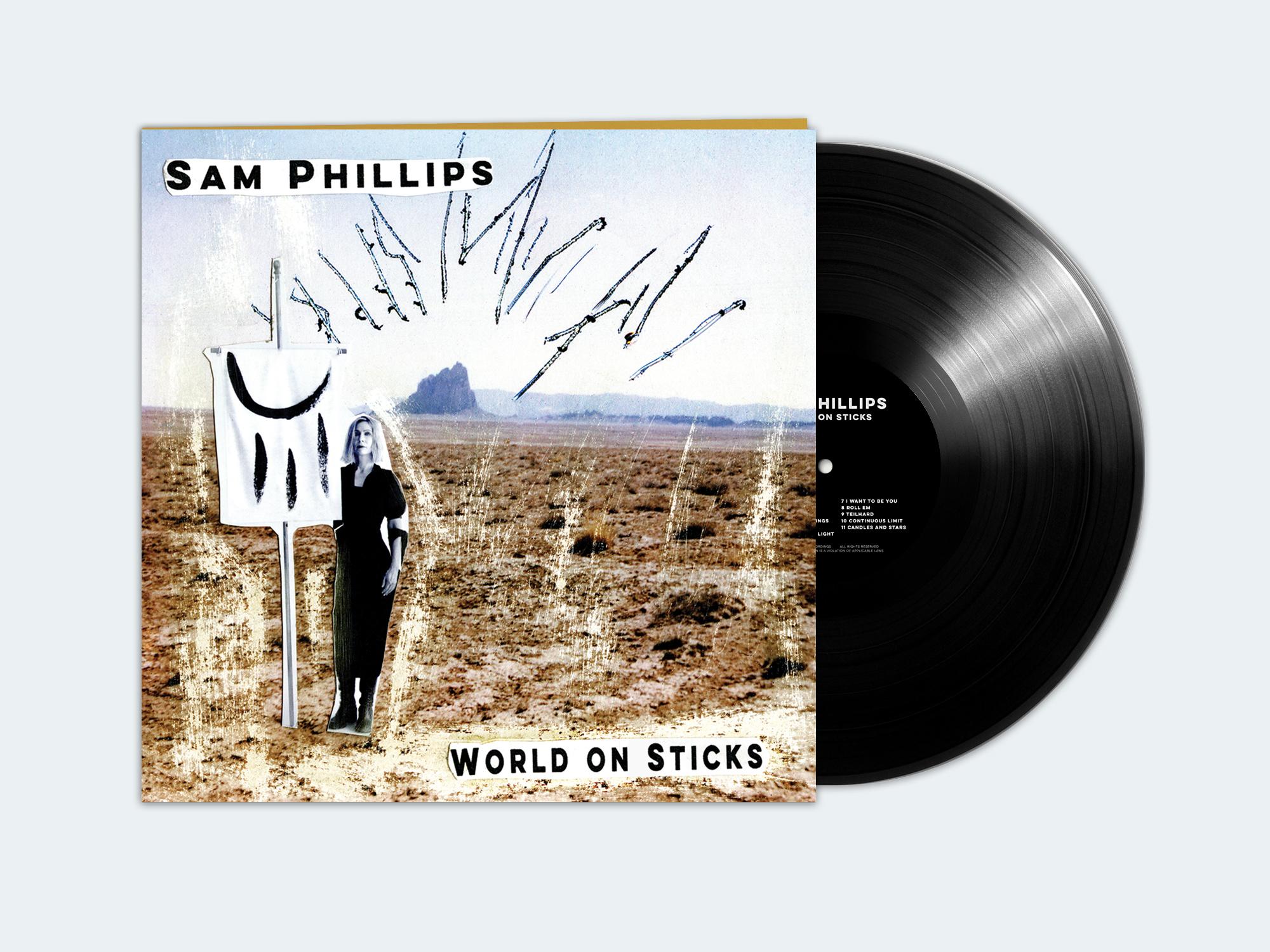 SAM PHILLIPS - 'WORLD ON STICKS' ----------- VINYL LP - Sam Phillips