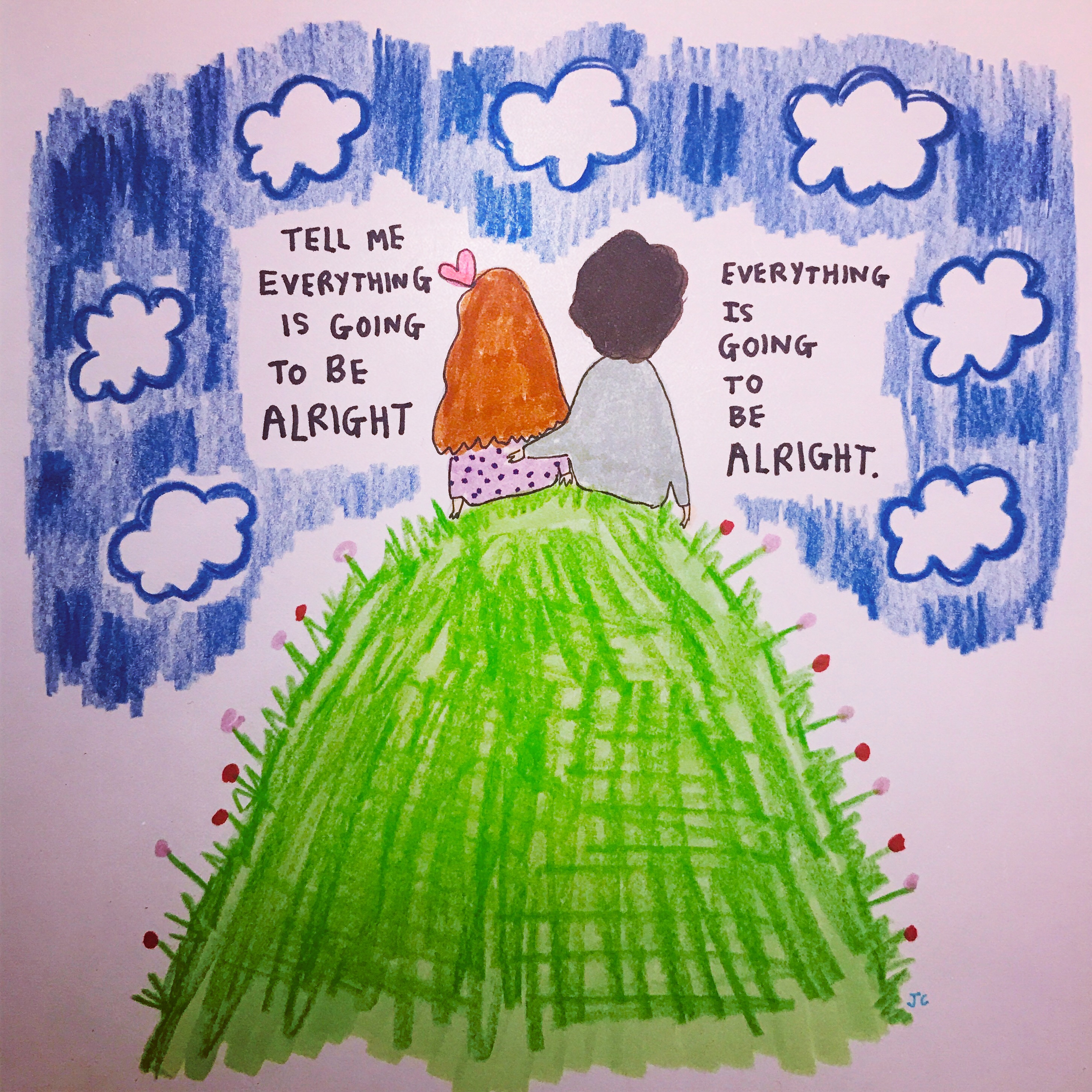 ALRIGHT WITH CLOUDS PRINT - Jessie Cave