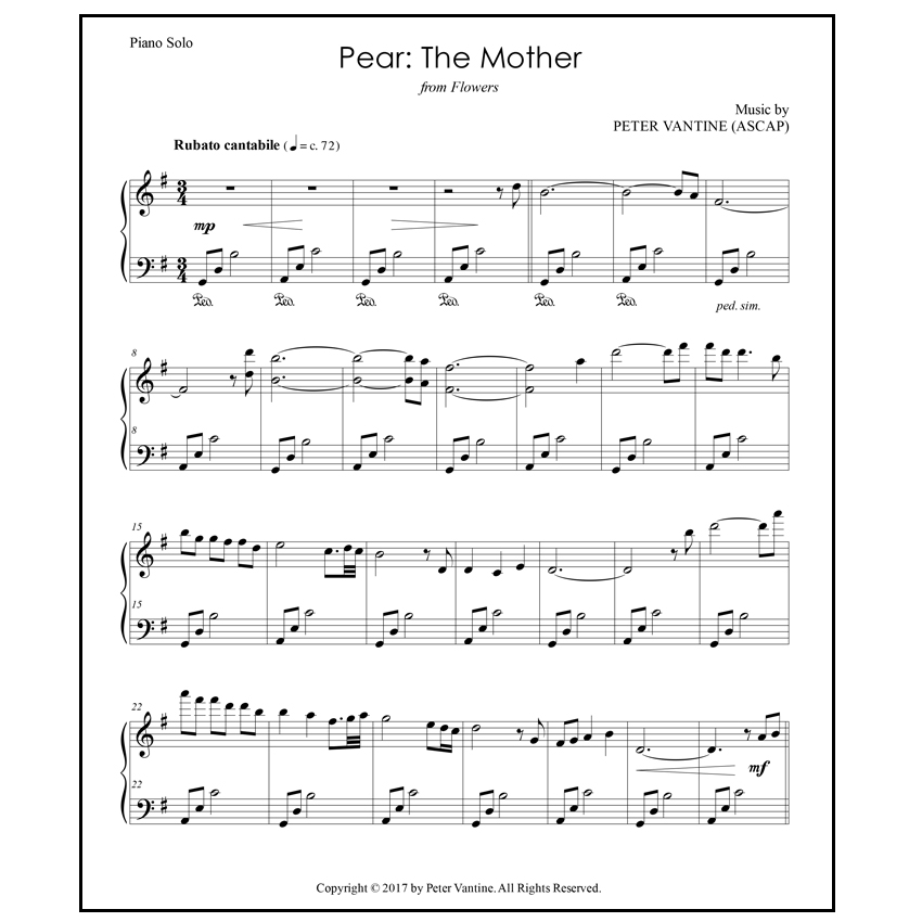 Pear: The Mother (sheet music download) - Peter Vantine