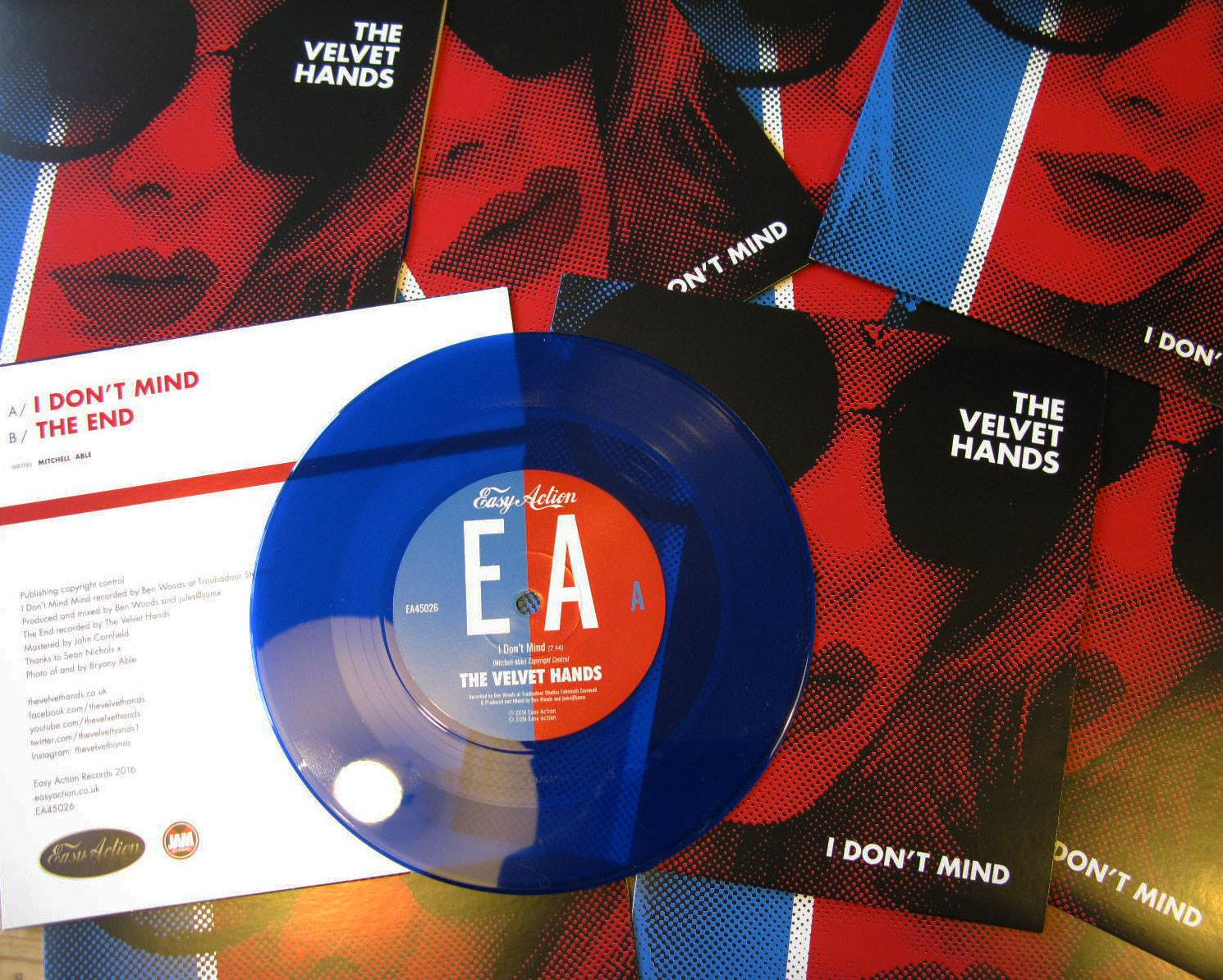 """'I Don't Mind' 7""""  blue vinyl. - The Velvet Hands"""