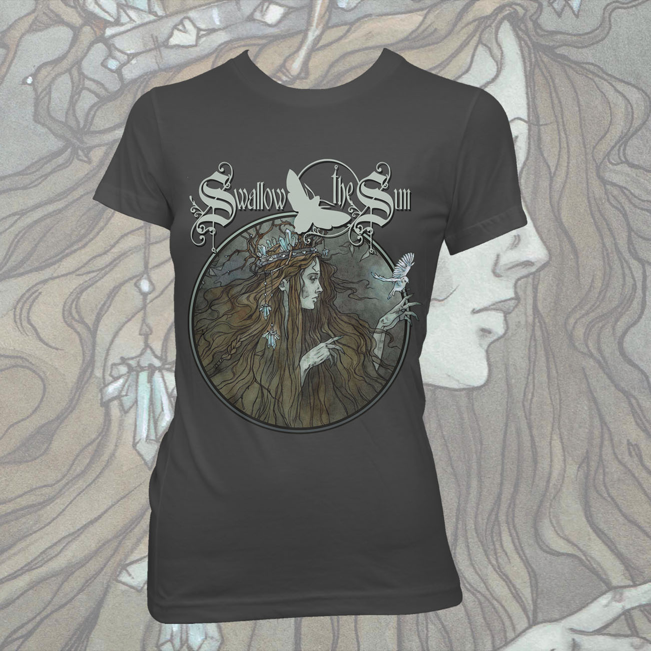 Swallow The Sun - 'Queen' Fitted T-Shirt - Swallow The Sun