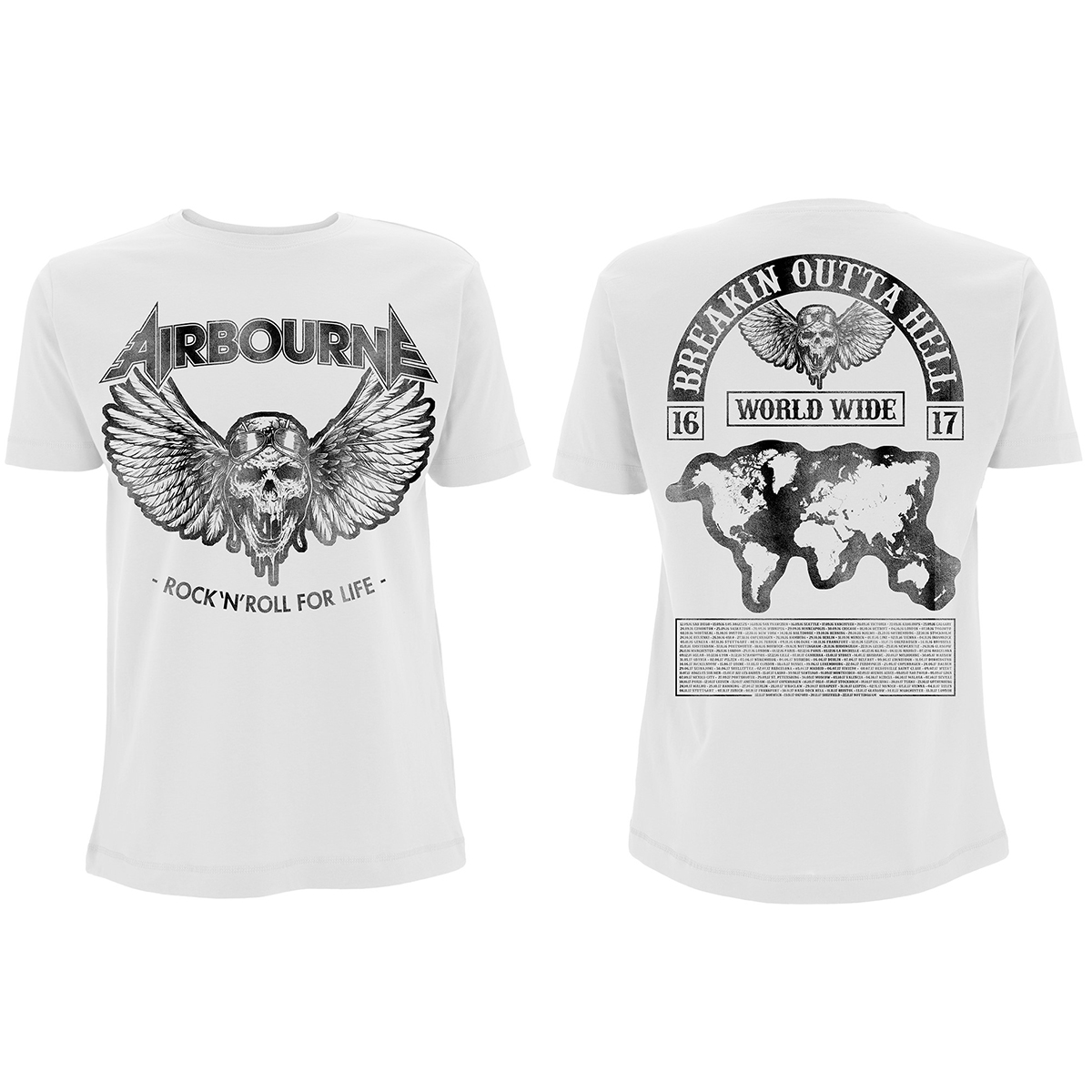 Airbourne - Rock N Roll Mega Tour – White T-Shirt - Airbourne