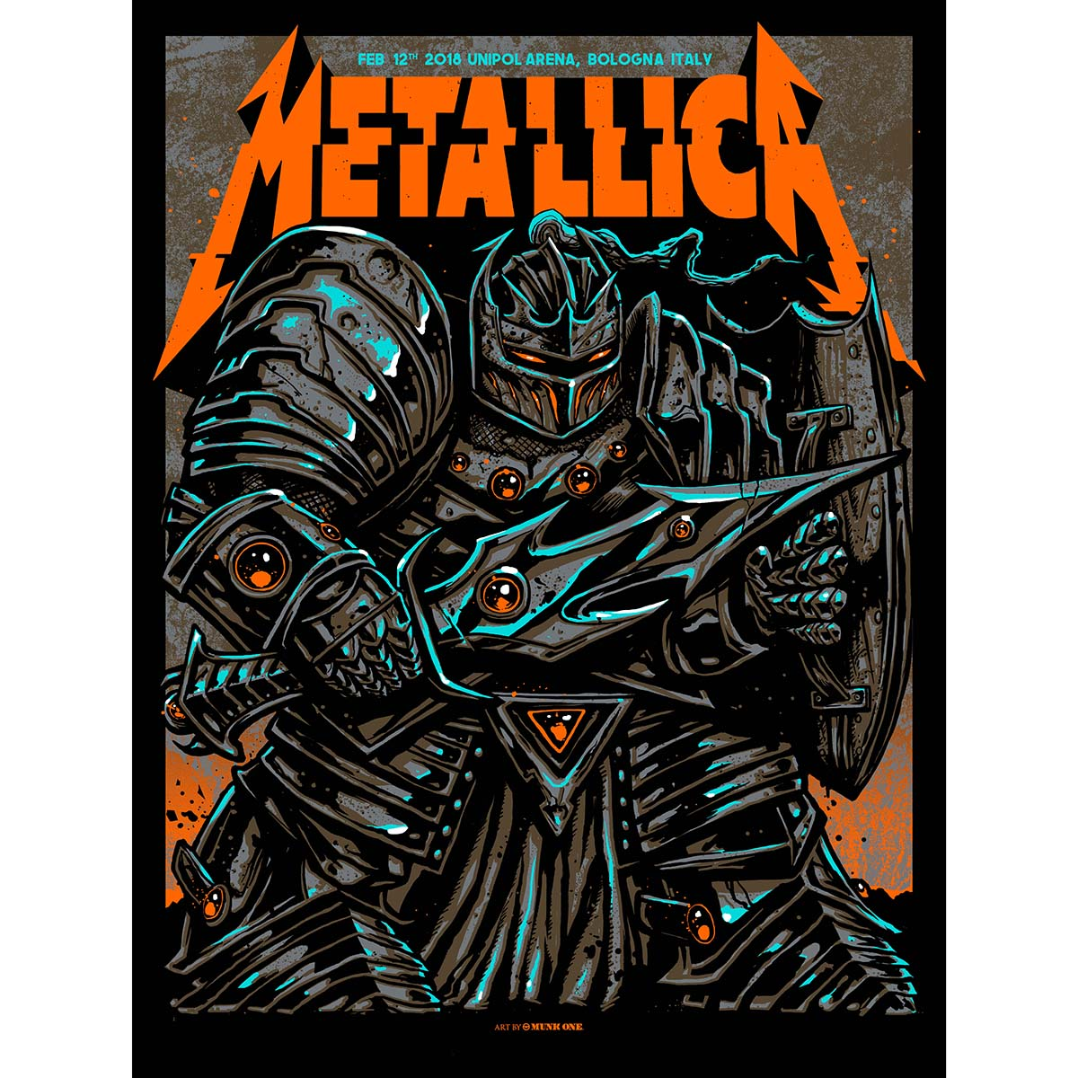 Bologna Feb 12th – Limited Edition Numbered Screen Printed Event Poster - Metallica