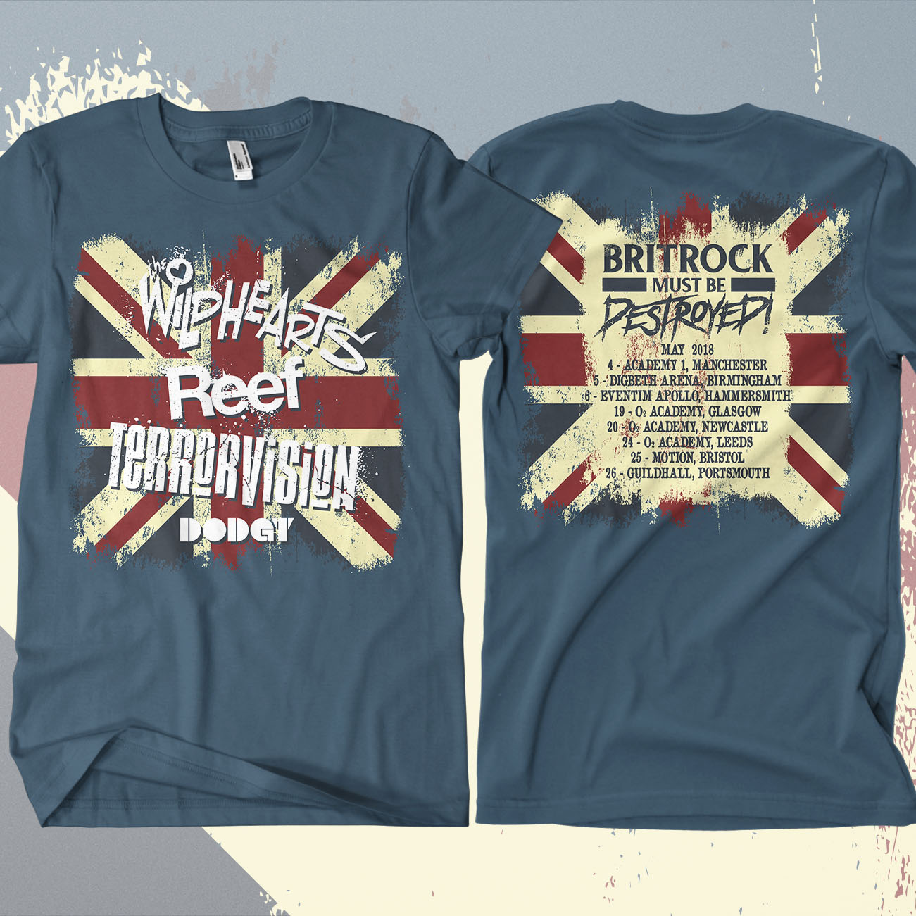 The Wildhearts - 'Britrock Must Be Destroyed' Blue UK Tour T-Shirt - The Wildhearts