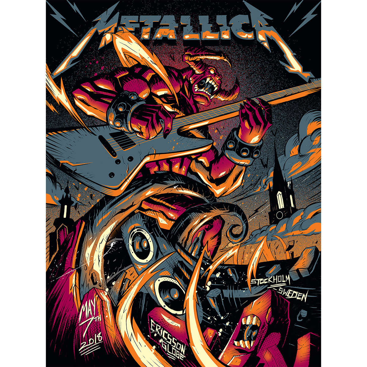 Stockholm May 7th – Limited Edition Numbered Screen Printed Event Poster - Metallica