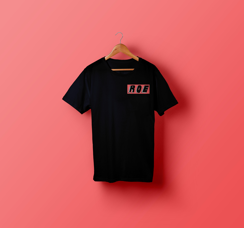 ROE black t-shirt (pink logo) - ROE
